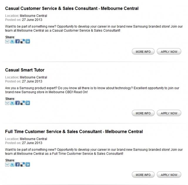 samsung-melbourne-central-jobs