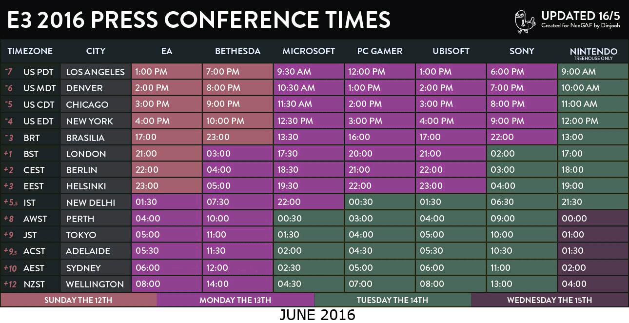 E3 2016 Press Conference Times