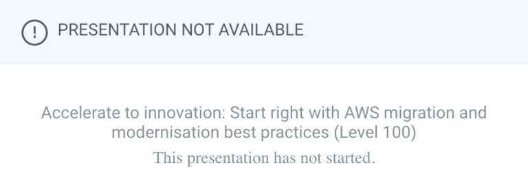 Common error message from AWS Summit